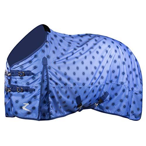 HORZE Nevada 600D Lightweight Waterproof Summer Horse Turnout Sheet - Blueprint Dark Blue/Baja Blue - 81 in
