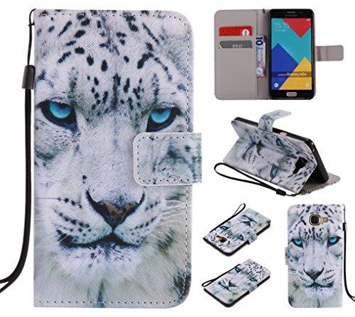 Qiaogle Telefono Case - Custodia in Pelle PU Basamento Custodia Protettiva Cover per Samsung Galaxy A5 (2016) / A5 (2016) Duos / A5100 - KT17 / Bianco Tiger