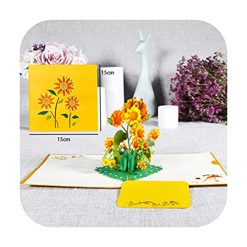 Christmas Greeting Card: Pop-Up Flower Card Flora 3D Greeting Card for Birthday Mother's Day Father's Day Graduation Wedding Anniversary Sunflower