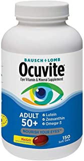 Bausch + Lomb Ocuvite Adult 50+ Vitamin & Mineral Supplement with Lutein, Zeaxanthin, and Omega-3, Soft Gels (150 Count) i...