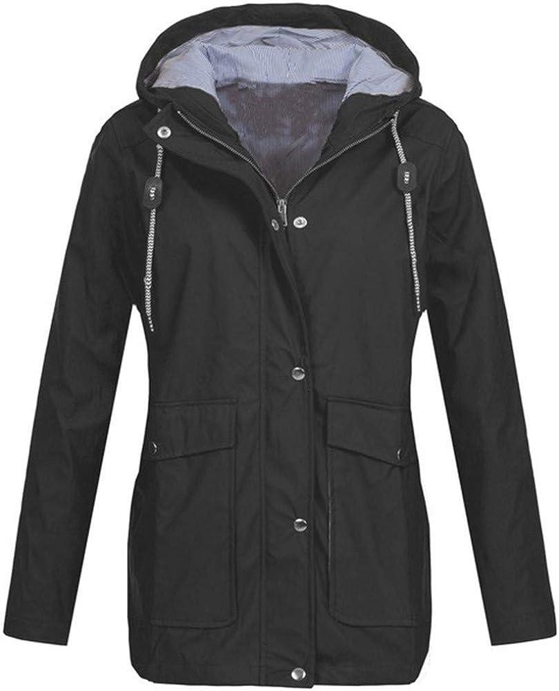 FABIURT Womens Fashion Winter Waterproof Hoodies Tunic Sweatshirt Casual Long Sleeve Windproof Raincoat Outerwear Jacket