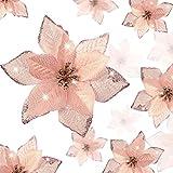 WILLBOND 36 Piezas Flores de Pascua Brillantes Flores Artificiales Adornos con Brillo de Año Nuevo Árbol de Navidad Boda (Oro Rosa, 3 Pulgadas, 4 Pulgadas, 6 Pulgadas)