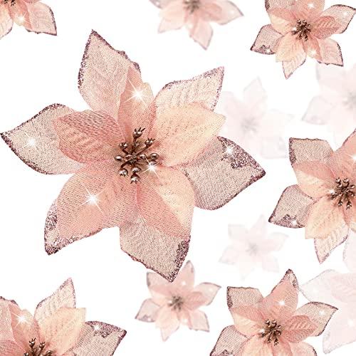 WILLBOND 36 Piezas Flores de Pascua Brillantes Flores Artificiales Adornos con Brillo de Año Nuevo Árbol de Navidad Boda...