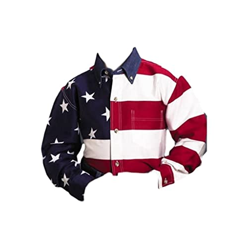 Mens American Flag Woven With Chest Pocket