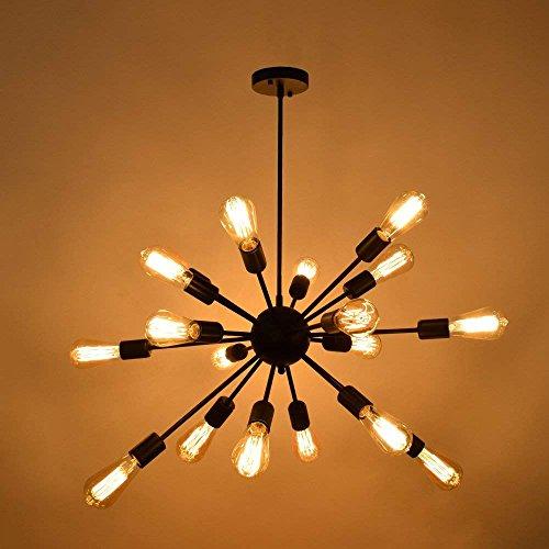 Hines Retro Loft Lámpara Colgante Grande Sputnik Lámpara Industrial Hierro Vintage Lámpara de Techo de Metal Restaurante Cocina Bar E27 Decoración Lámpara Colgante con 18 Luces Acabado Pintado