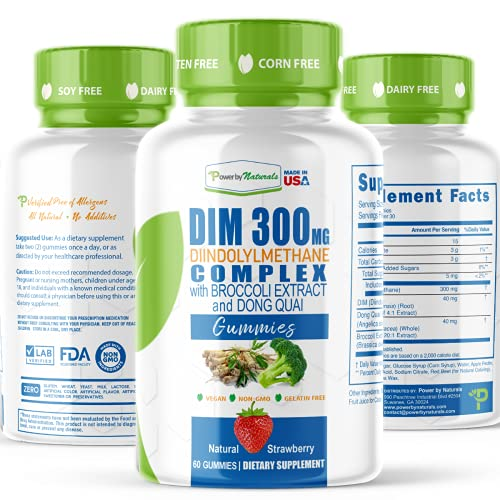 Power by Naturals DIM Complex with Broccoli Extract and Dong Quai, Vegan Strawberry Gummies, 300 Milligrams, 60 Count, 1 Bottle