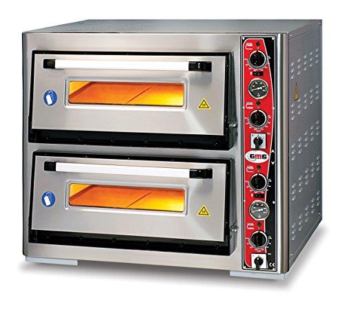 GMG Profi Pizzaofen CLASSIC LUX PF 70105 L für Gastronomie, 2 Backkammern / Doppelkammer dual - 6 + 6 x Ø 33 cm Pizzen - 67x103x15cm, bis zu 450°C (Ober- und Unterhitze getrennt regelbar), 12.000 Watt