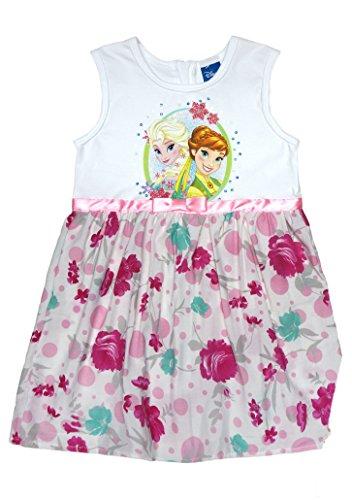 Disney Baby Eiskönigin Mädchen Prinzessinnen-Kleid mit Blumen in Gr. 104 110 116 122 128 134 Baumwoll schön luftig FEST-Kleid mit Glitzer für 3 4 5 6 7 8 Jährig Größe 134, Farbe Weiss