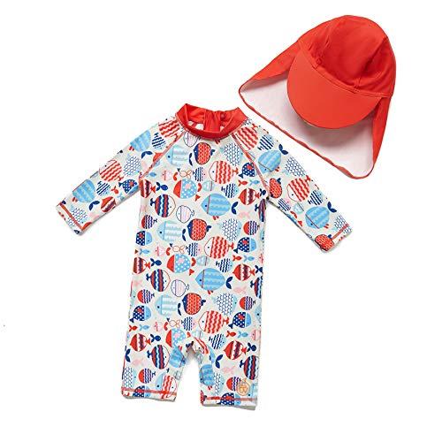 Baby Mädchen Ein stück 3/4 der ärmellänge UV-Schutz 50+ Badeanzug MIT Einem Reißverschluss(Rot-BXWelle punkte,3-6M)