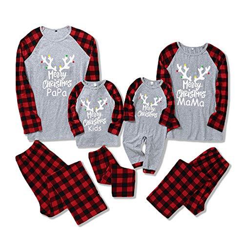 Eurobuy Pigiama Natale Famiglia, Natale Pigiama Famiglia Set, Pantaloni Manica Lunga O Pagliaccetto Pigiama Natale Homewear Set Pigiama di Natale per Coppia Padre Madre Bambina Figlio Figlia