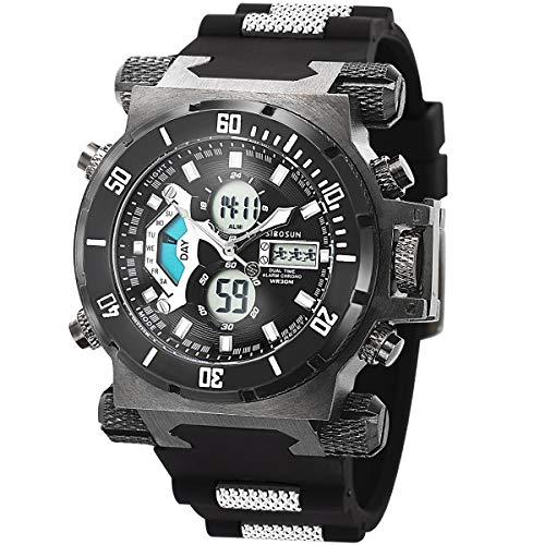 SIBOSUN Herren Digital Sport Uhren - Outdoor Armbanduhr mit Wecker Chronograph Uhr LED Licht Große Anzeige Digitaluhren für Herren Militärische Uhren Armband Großes Gesicht Digitale Sport-Uhr Schwarz