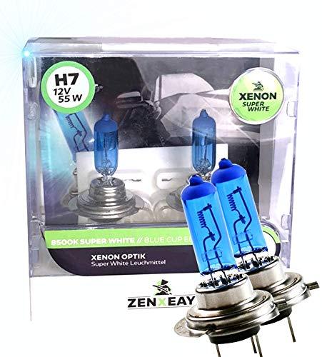 ZENXEAY H7 lamp lamp, 55W 12V, super wit ultra look, halogeenlamp vision, 100% passend, 2 stuks box