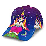 Gorra de béisbol curvada 3D Unicorn Moon Star Rainbow Curvado Brim Ajustable Snapback...