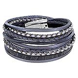 StarAppeal Armband Wickelarmband mit Flechtelement, Magnetverschluss Silber, Damen Armband (Grau)