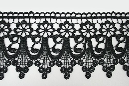 """Altotux 3"""" Black Embroidered Floral Scalloped Venice Lace Trim Victorian Guipure Sewing Supplies By Yard (UB004)"""