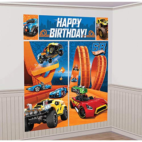 Amscan Fast Riding Hot Wheels Wild Racer Birthday Party Scene Setters Wall Decorating Kit, Multi Colored, Plastic, 59 X 65, 5Piece Party Decorations