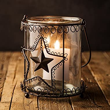Lantern Rustic Candle Holder Hurricane Indoor Outdoor Glass Metal Farmhouse (7  x 6.5 )