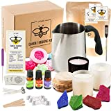 DIY Soy Candle Making Kit for Adults with Big Glass Candle Jars - Candle Making Supplies - Candle Rose Mold - Wicks - Soy Wax Flakes Candle Making Kits - Full Beginners Set