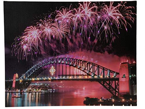 LED Wandbild 50x40 cm mit ca. 75 LEDs - Harbour Bridge Sydney - Leinwand beleuchtet mit normalen und Farbwechsel LEDs