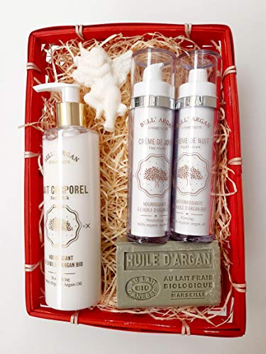 Cesta de Regalo cosmética ecológica Leche corporal + Crema de día + Crema de noche + Jabón de leche de burra Argan Bio Bell'Argan