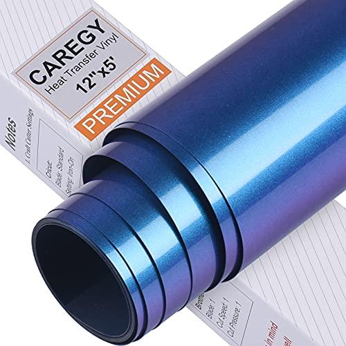CAREGY Chameleon Heat Transfer Vinyl 12In×5ft Iron on Vinyl for T-Shirt Gradient Change Color HTV Roll(Blue to Purple)
