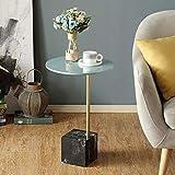 AI LI WEI Household Products/Furniture Nórdica Moderna Lateral Mesa Redonda Mesa de Centro de mármol bajo de Esquina Tabla 40 * 60cm (Color: Base Blanca) (Color : Black Base)