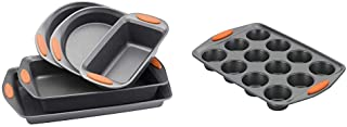 Rachael Ray 55673 Nonstick Bakeware Set with Grips - 5 Piece, Gray with Orange Grips & Ray Yum -o Nonstick Bakeware 12-Cup...