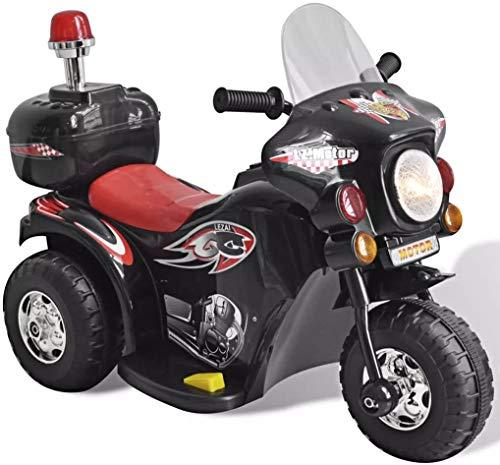 Elektro-Motorrad Elektrofahrzeug für Kinder 2-4 Jahre, kinderfahrzeug Kindermotorrad Kinderwagen mit blinkende Sirene, Gepäckfach (Schwarz)