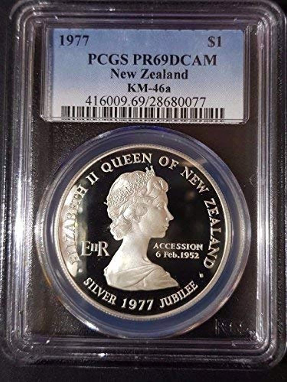 Pcgs 1977 New Zealand  1 Waitangi Day Jubilee Coin Silber Proof Pr69Dcam Km-46A