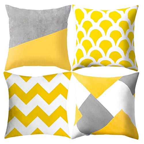 Zuzer Fundas de Almohada,4PCS Fundas Almohada Cushion Covers 45x45 cm Pillow Covers Cojin Fundas para Sofá Cama Decoración para Hogar