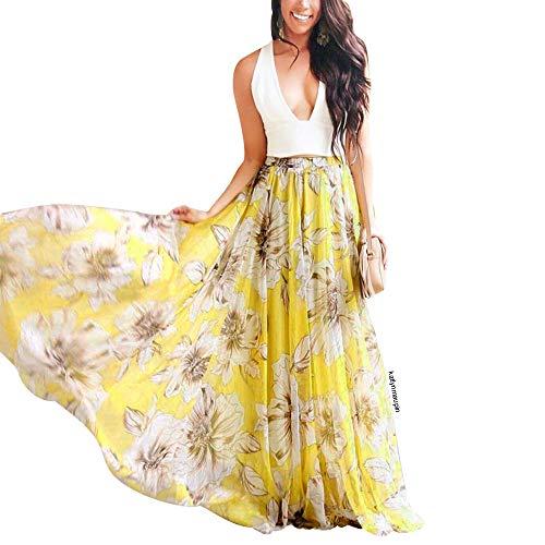 CHICWISH Women's Floral Printed Yellow Elastic Waist Frill Hem Slip Maxi Chiffon Skirt, Size XS-S