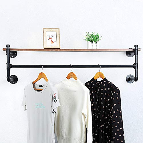 Industrial Pipe Clothing Rack Wall Mounted with Real Wood ShelfPipe Shelving Floating Shelves Wall ShelfRustic Retail Garment Rack Display Rack Cloths Rack48in Steam Punk Commercial Clothes Racks