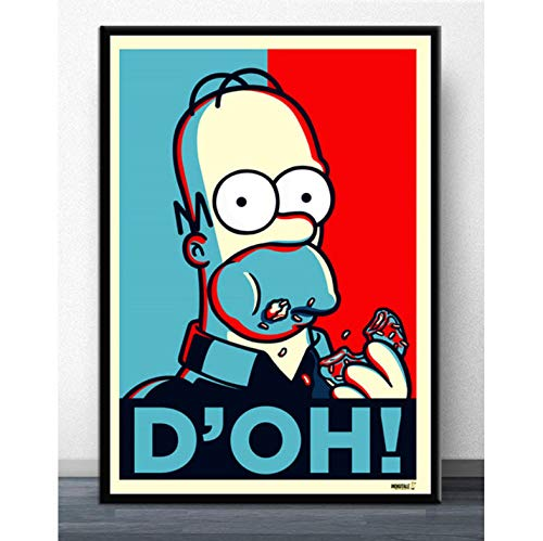tgbhujk Wandkunst Die Simpsons Scream Anime Cartoon Comics Simpson Poster Bild Poster Und Drucke Leinwand Malerei Für Room Home Decor 50 * 75 cm Ohne Rahmen