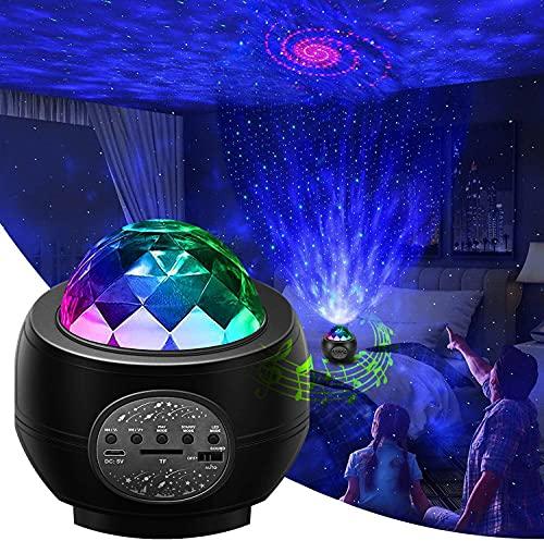 Led Sternenhimmel Projektor,Galaxy Projector Light mit Musikspieler& Wasserwellen&Bluetooth,Ferngesteuerte Nachtlichter für Kinder Erwachsene,Geschenke für Party Weihnachten Ostern,Zimmer Dekoration