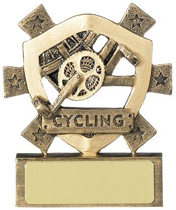 Trofeo per il ciclismo, premio scolastico, con scritta in inglese 'cycling' (lingua italiana non garantita), da 80 mm, personalizzabile con incisione (RM581)