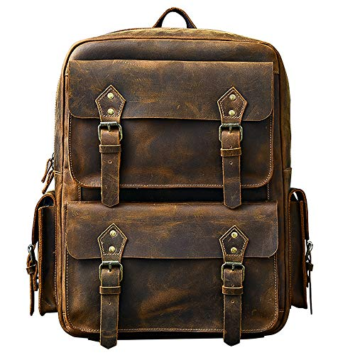 Cowhide Leather Men Backpack 17 Inch Laptop Bag Schoolbag Retro Outdoor Travel Backpacks Male (Brown)