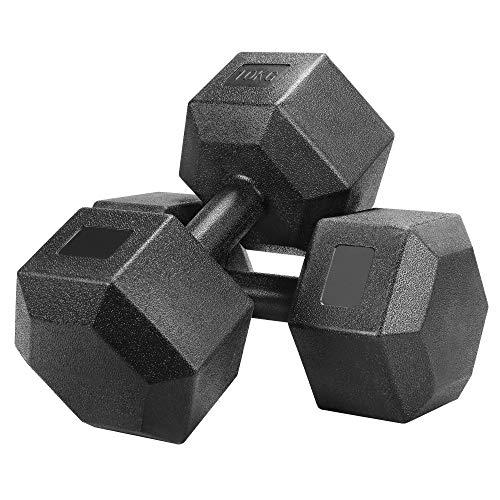 Yaheetech Kurzhanteln 2 Stück Hexagon Hanteln 10KG Gummi Gusseisen Gewichte Training für Aerobic, Gymnastik und Fitness