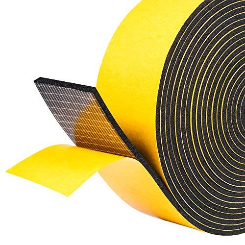 Fowong Nastro in schiuma intemperie 50 mm di larghezza x 3 mm di spessore x 5 m di strisce di gomma lunghe con nastro adesivo di schiuma isolante Guarnizione per vetri Nastro di guarnizione antiurto