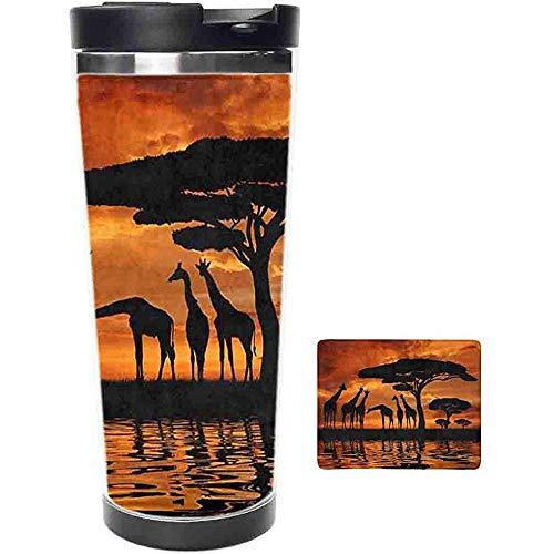 Siluetta Da Viaggio Tumbler-Giraffe Con Albero Sopra L\'Alba In Kenya Tazza E Tazza Da Caffè In Acciaio Inossidabile Savana Africana-Tazza Termica Con Coperchio Scorrevole Antispruzzo-16Oz