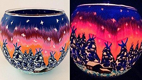 Windlicht Glas mit Teelicht Motiv Winter Landschaft Dorf Weihnachten Windlicht
