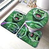 YHKC Hogar Jardín Hogar Cocina Categorías Baño Alfombrillas de baño Angry Hulk Bathroom Mat 3-Piece Set, Bathroom U-Shaped Contour Mat/Floor Mat/Toilet Cover Bathroom Carpet Cover, Soft Non Anti-