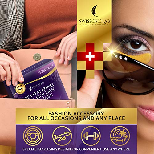 518hR5x pIL - Under Eye Patches For Puffy Eyes 24k Gold Eye Mask For Dark Circles And Puffiness Collagen Eye Gel Pads Moisturizing & Reducing Wrinkles Anti-Aging Hyaluronic Acid
