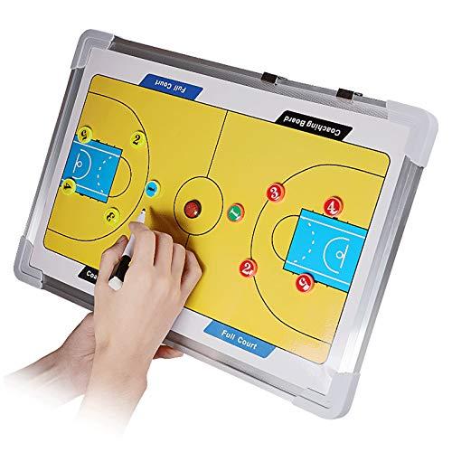 Carpeta Táctica Magnéticas para Entrenador Entrenamiento de baloncesto,Pizarra magnética de entrenamiento de baloncesto estrategia de 2 caras con marcadores de jugador,borrable 2 en 1 bolígrafo,45*30