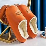 zxczxc Unisex Casa de Invierno Zuecos Interior de Piel Caliente Zapatillas Sandalias Para las Mujeres Calzado Chanclas Mule Slide
