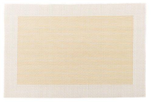 makami Sets de Table élégants et Solides en Lot de 4 en Plastique tissée (Beige-Blanc)