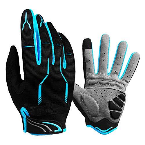 Bicicleta guantes de dedo completo guantes de bicicleta de montaña hombres y mujeres equipos de conducción de absorción de impactos azul grande