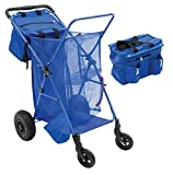 RioBeach Cart | Wonder Wheeler Deluxe Beach Cart with Removable Insulated Tote and Beverage Holders