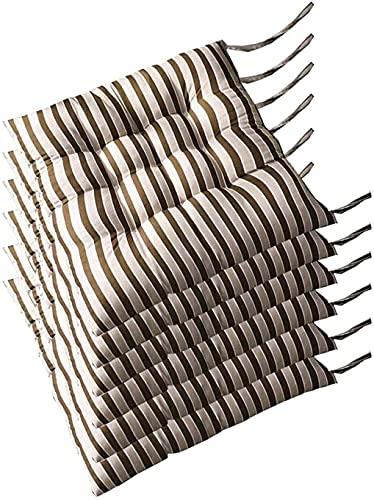AMYZ Cuscini per sedie,Cuscini Quadrati per sedie,Set di 6,Cuscini per sedie da Pranzo,Cuscino per Seduta in Tessuto Resistente con Lacci,Cuscini per sedie per mobili da Esterno 16 x 16 Pollici (