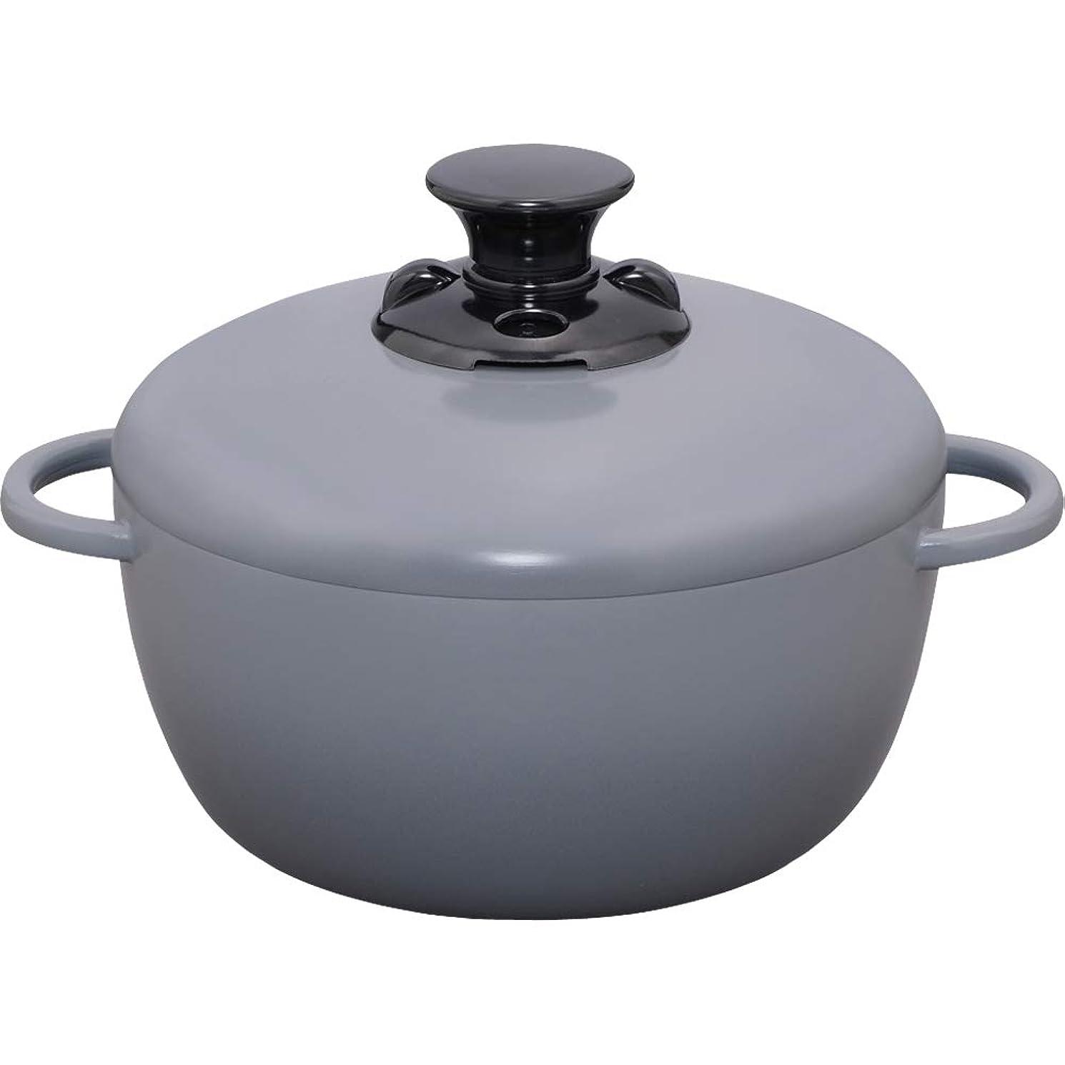 幻想的サーバント入力アイリスオーヤマ 鍋 IH 対応 20cm 深型 両手鍋 無加水鍋 グレー GMKS-20D