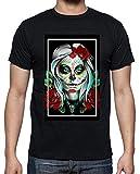 latostadora - Camiseta Catrina y Flores para Hombre Negro XL